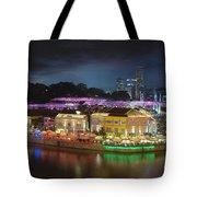 Nightlife At Clarke Quay Singapore Aerial Tote Bag