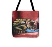 Nikos On Red Chair Tote Bag