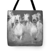 Nine White Horses Run Tote Bag