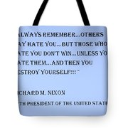 Nixon Quote In Cyan Tote Bag