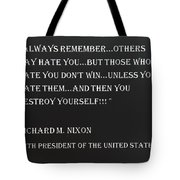 Nixon Quote In Negative Tote Bag
