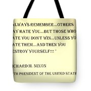 Nixon Quote In Sepia Tote Bag