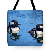Male Hooded Merganser Pair Tote Bag