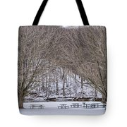 Snowy Picnic Ground In Winter Tote Bag