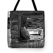 Vintage Boat Framed In Nature Of Minorca Island - Waiting  Tote Bag