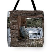 Vintage Boat Framed In Nature Of Minorca Island - Hide And Seek Tote Bag