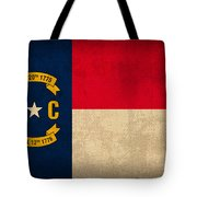 North Carolina State Flag Art On Worn Canvas Tote Bag