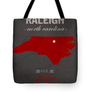 North Carolina State University Wolfpack Raleigh College Town State Map Poster Series No 077 Tote Bag