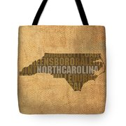 North Carolina Word Art State Map On Canvas Tote Bag by Design Turnpike