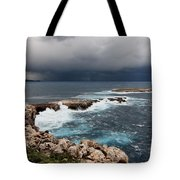 Wild Rocks At North Coast Of Minorca In Middle Of A Wild Sea With Stormy Clouds Tote Bag