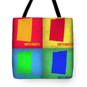 North Dakota Pop Art Map 1 Tote Bag by Naxart Studio