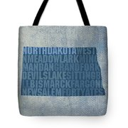 North Dakota Word Art State Map On Canvas Tote Bag by Design Turnpike