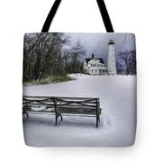 North Point Lighthouse And Bench Tote Bag