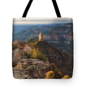 North Rim Grand Canyon Arizona Point Imperial Bathed By Sunrise Golden Light. Tote Bag