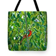 Northern Cardinal Hiding Among Green Leaves Tote Bag by Cyril Maza