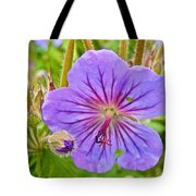 Northern Geranium By Transfiguration Of Our Lord Russian Orthodox Church In Ninilchik-ak Tote Bag