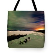 Northern Lights And City Light Pollution Night Sky Tote Bag
