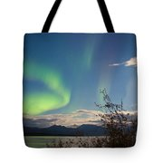 Northern Lights Full Moon Over Lake Laberge Yukon Tote Bag