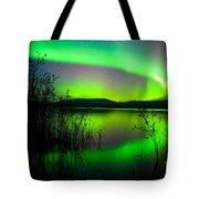Northern Lights Mirrored On Lake Tote Bag