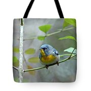 Northern Parula On Branch Tote Bag