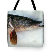 Northern Pike Fish On Snow, Close Tote Bag