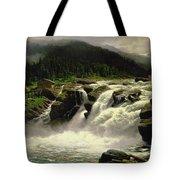 Norwegian Waterfall Tote Bag by Karl Paul Themistocles van Eckenbrecher