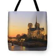 Notre Dame Cathedral At Sunset Paris France Tote Bag