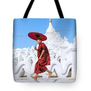 Novice Monk Jumping On White Pagoda - Mandalay - Burma Tote Bag