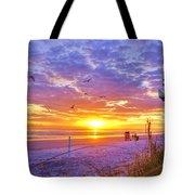 Nsb Lifeguard Station Sunrise Tote Bag