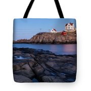 Nubble Light Along Maine's Rugged Coast York Beach Maine Tote Bag