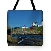 Nubble Light House York Beach Maine Tote Bag