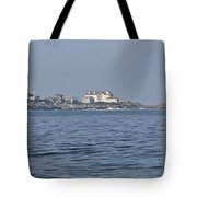 Nubble Lighthouse From Long Sands Beach Panorama Tote Bag