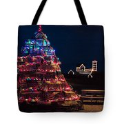 Nubble Lighthouse And Lobster Pot Tree Tote Bag
