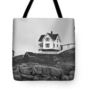 Nubble Lighthouse Cape Neddick Maine Black And White Tote Bag