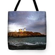 Nubble Lighthouse Tote Bag by Skip Willits