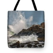 Nubble Lighthouse Waves 1 Tote Bag by Scott Thorp