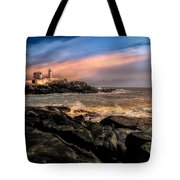 Nubble Lighthouse Winter Solstice Sunset Tote Bag