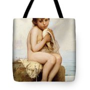 Nude Child With Dove Tote Bag