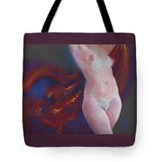 Nude Female Torso In Bright Light From Front With Radiant Red Cloth Flowing Behind With Gold Sparkle Tote Bag