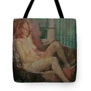 Nude In Old Tub, 2008 Oil On Canvas Tote Bag