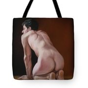 Nude Male Kneeling Tote Bag