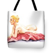 Nude Model Gesture Xiv Resting On Red Tote Bag