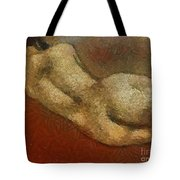 Nude On A Red Tote Bag