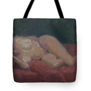 Nude On Red And Green Tote Bag