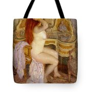 Nude Seated At Her Dressing Table Tote Bag