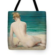 Nude Seated On The Shore Tote Bag