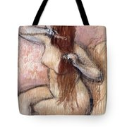 Nude Seated Woman Arranging Her Hair Femme Nu Assise Se Coiffant Tote Bag