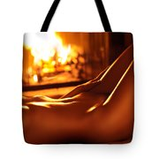 Nude Shiny Woman Body In Front Of Fireplace Tote Bag