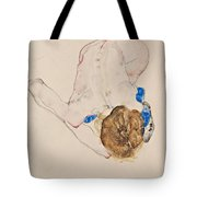 Nude With Blue Stockings Bending Forward Tote Bag