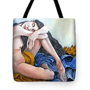 Nude With Electric Light Tote Bag